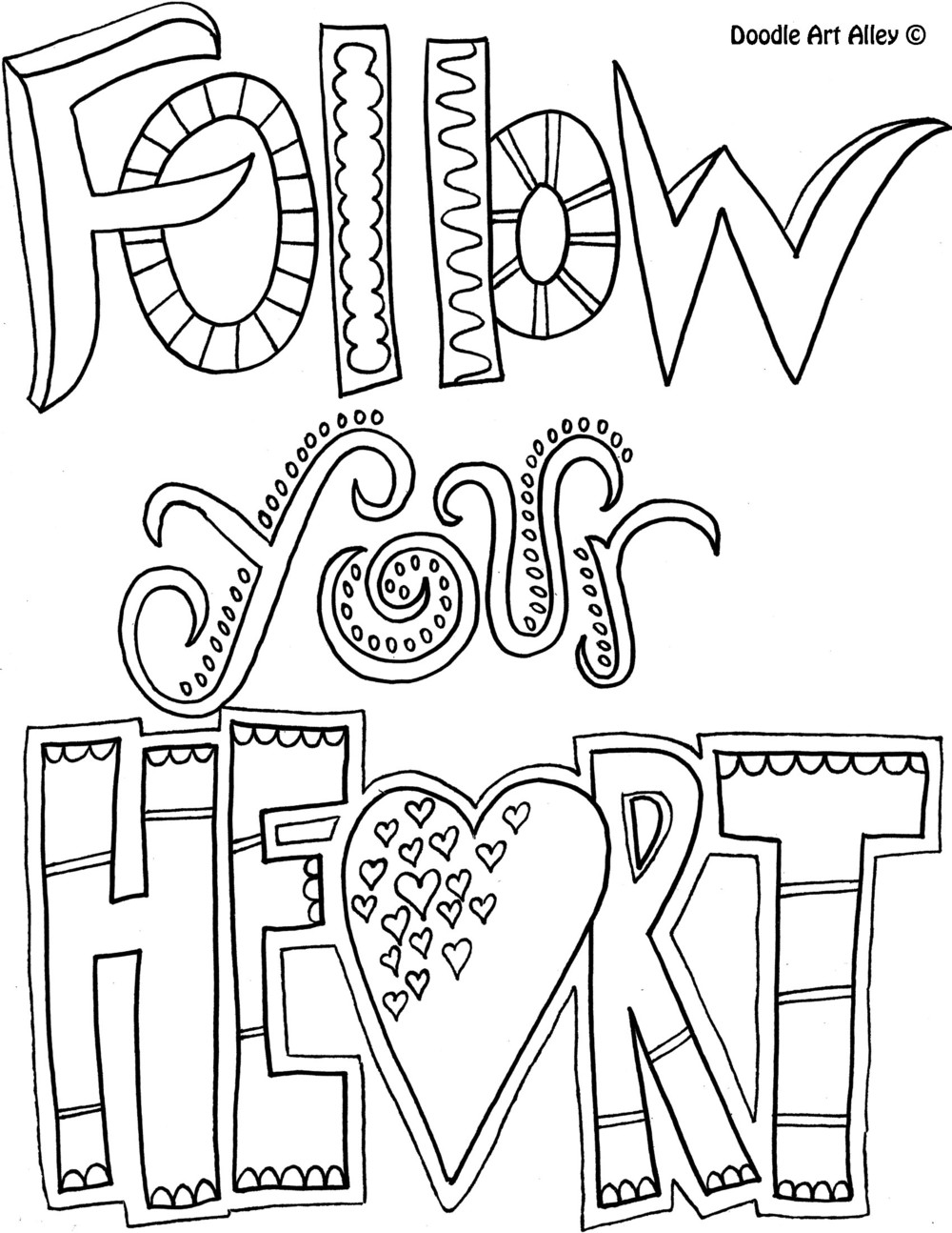 Become a Coloring-book Enthusiast with Doodle Art Alley ... | free printable coloring pages inspirational quotes